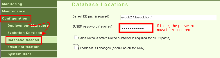 DB password entry field in MC