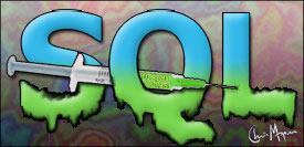 """SQL"" with a syringe sticking through it"