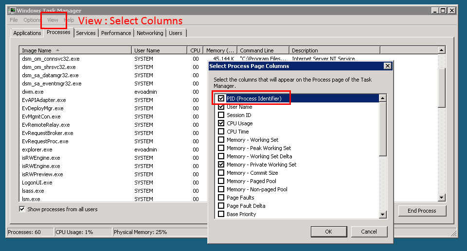 Enabling PID column in Task Manager